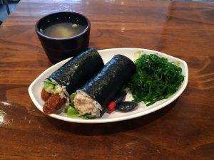 Mee's chicken schnitzel sushi
