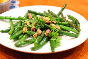 Gorgeous and green pistachios and beans