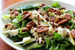 Pear, maple candied pecan and gorgonzola salad