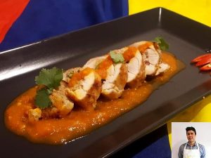 Chicken roulade and rougaille sauce